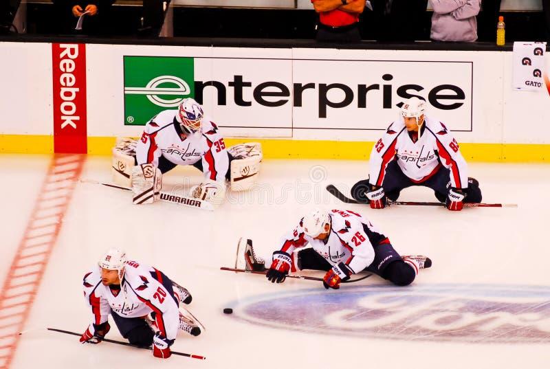 Washington Capitals warm up. Members of the Washington Capitals warm up before Game 2 royalty free stock photography