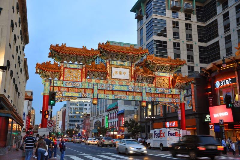 Washington Chinatown na noite, C.C., EUA imagem de stock royalty free