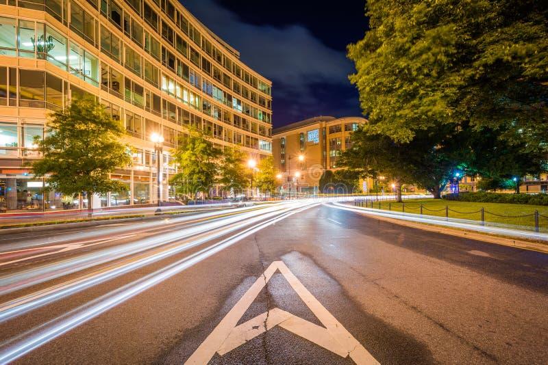 Washington Circle at night, in Foggy Bottom, Washington, DC royalty free stock photo