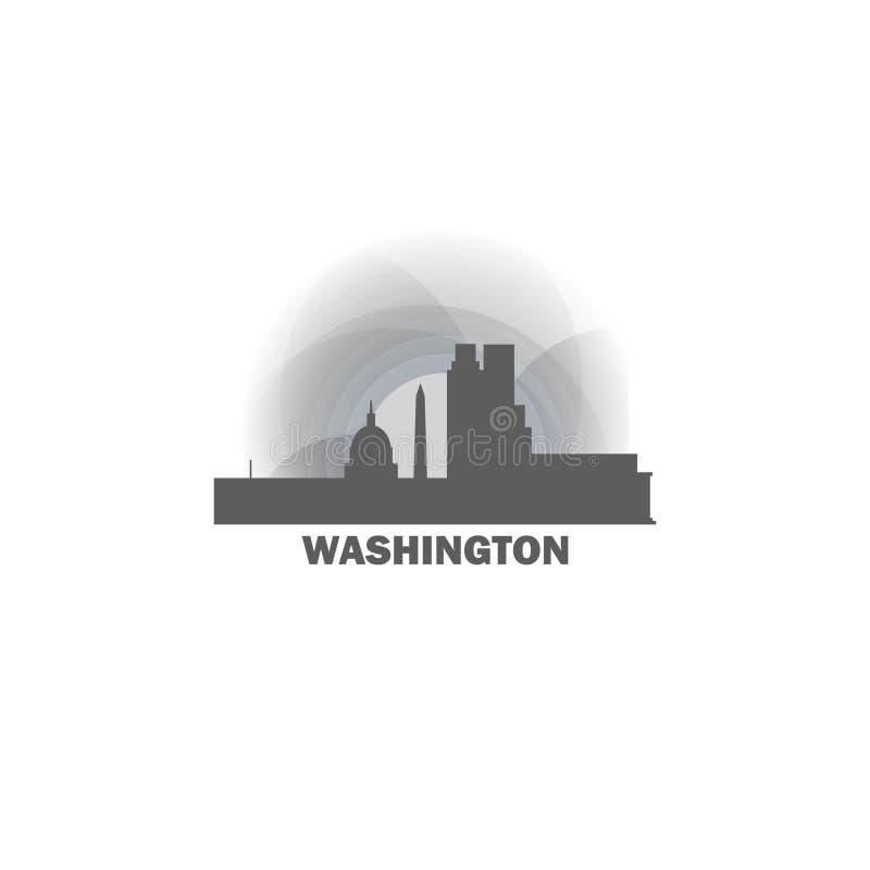 Washington city skyline silhouette vector logo illustration royalty free illustration