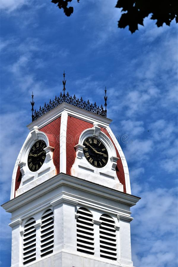 City of Montpelier, State Capitoal, Washington County, Vermont. New England. United States, State Capital. Washington County Courthouse Steeple located in royalty free stock photo