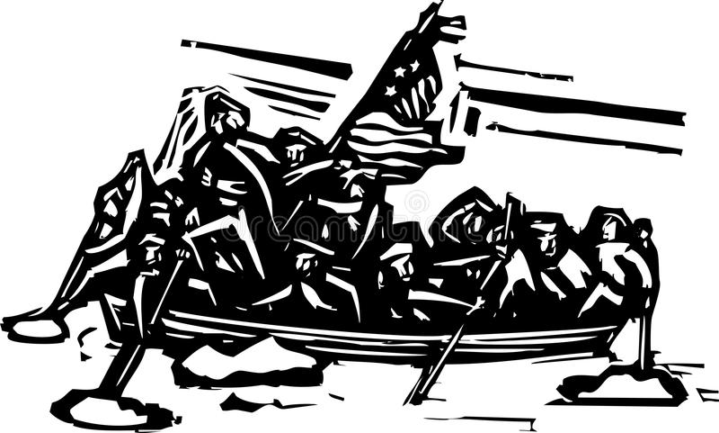 Washington Crossing the Delaware stock illustration