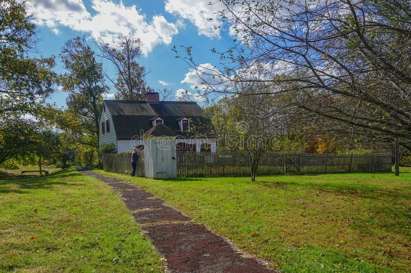Washington Crossing, Titusville, NJ: Johnson Ferry House. C. 1740, at the site of George Washington`s crossing of the Delaware River, December 1776 royalty free stock photo