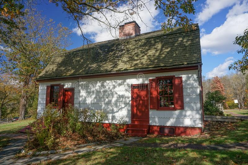 Washington Crossing, Titusville, NJ: Johnson Ferry House. C. 1740, at the site of George Washington`s crossing of the Delaware River, December 1776 stock photos