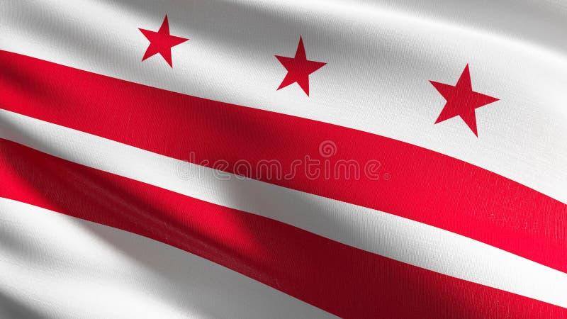 Washington, D C de vlag van de staat in de Verenigde Staten van Amerika, de V.S., die in de geïsoleerde wind blazen Officieel pat vector illustratie
