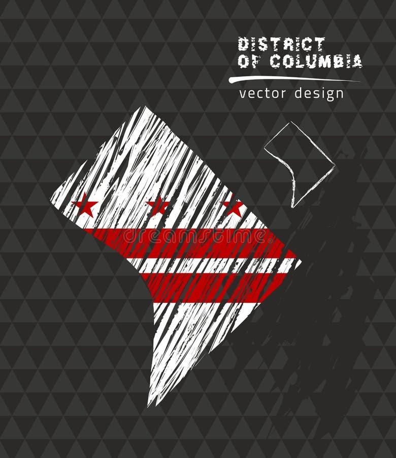 Washington, D C kaart met vlag binnen op de zwarte achtergrond De vectorillustratie van de krijtschets royalty-vrije illustratie
