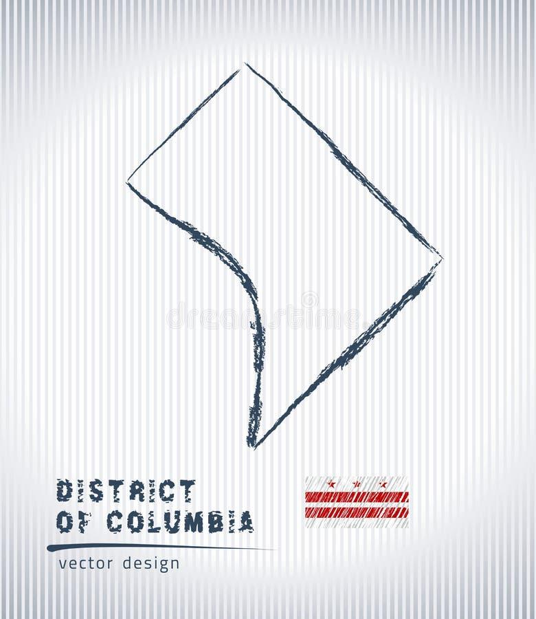 Washington, D C nationale vectortekeningskaart op witte achtergrond royalty-vrije illustratie