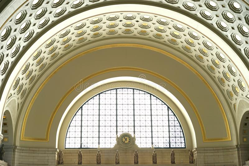 Historic Union Station ceiling arch and detail. Washington, D.C.`s Union Station was built by the Pennsylvania PRR and Baltimore & Ohio B&O Railroads near the U royalty free stock photography