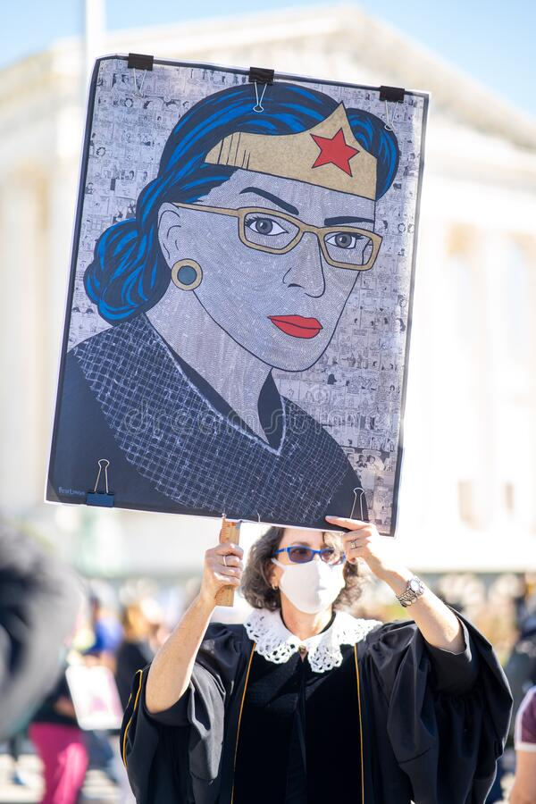 Free Washington D.C./ USA - October 17th, 2020 - Count On Us Women's March 2020: Ruth Bader Ginsburg Protester Honoring Her With A Stock Images - 199404614