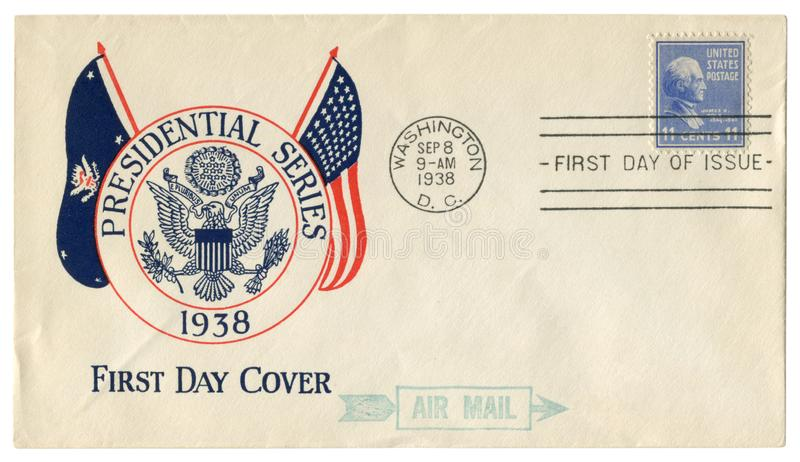 Washington D.C., The USA  - 8 September 1938: US historical envelope: cover with cachet  Presidential series, coat of arms, postag royalty free stock images