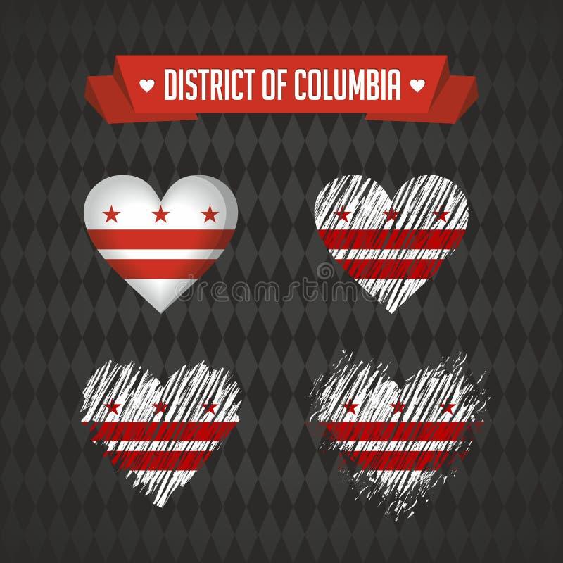 Washington d C Z miłością Projekta wektorowy złamane serce z flaga inside royalty ilustracja