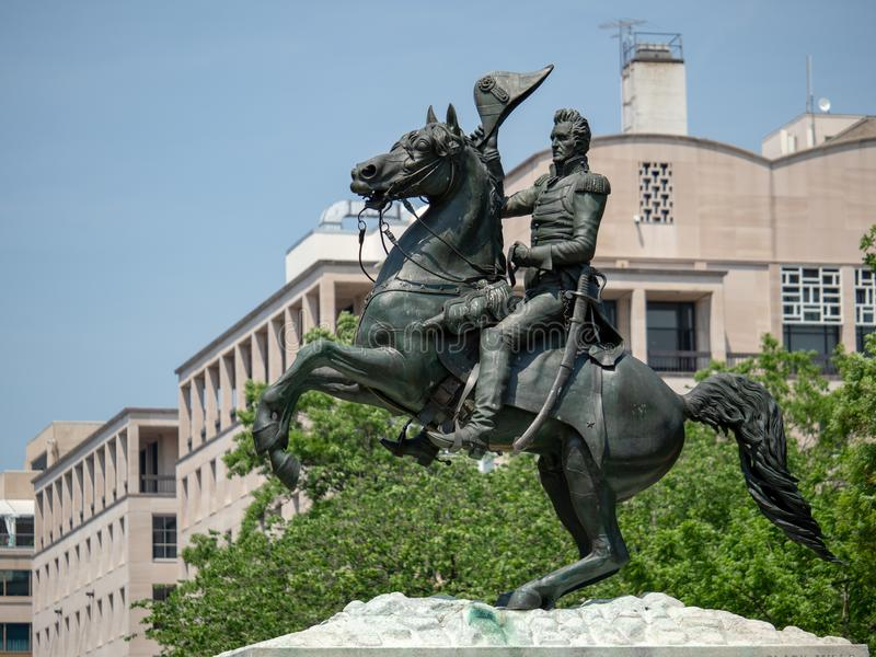 Statue of Andrew Jackson from the Battle of New Orleans in Lafayette Square in Washington, DC royalty free stock photography