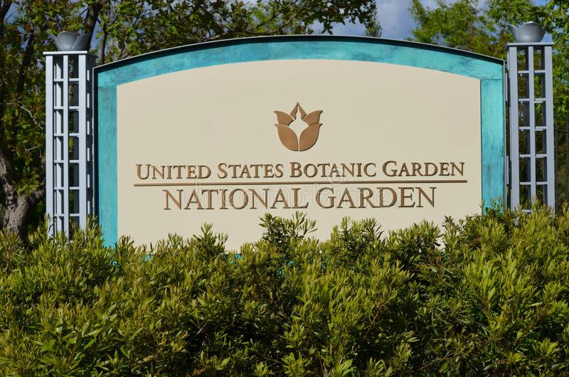 Washington DC - σημάδι για την άποψη του εθνικού κτηρίου κήπων Ηνωμένων βοτανικών κήπων, εντοπίζω στοκ φωτογραφίες με δικαίωμα ελεύθερης χρήσης