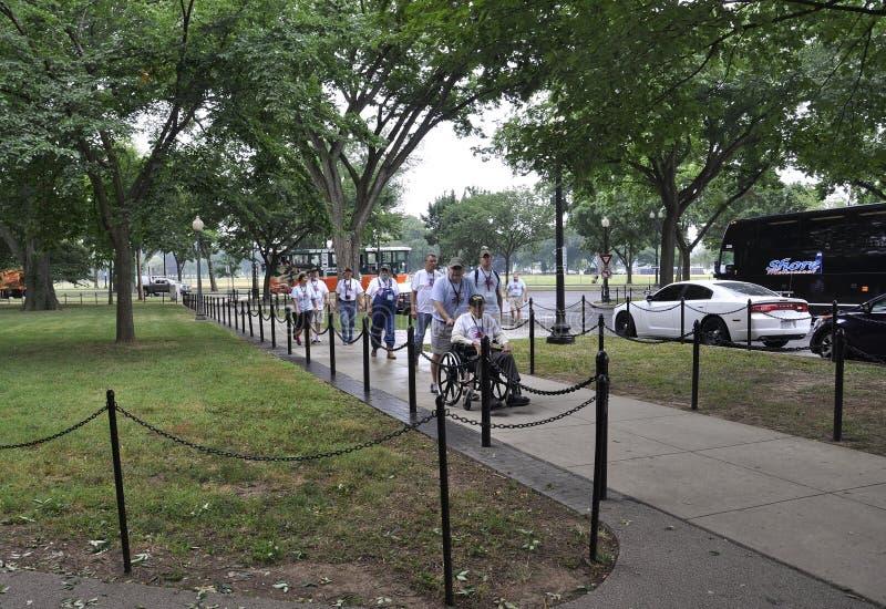 Washington DC, στις 5 Ιουλίου: Παλαίμαχοι στο μνημείο Πολέμων της Κορέας από τη Περιοχή της Κολούμπια ΗΠΑ της Ουάσιγκτον στοκ εικόνα