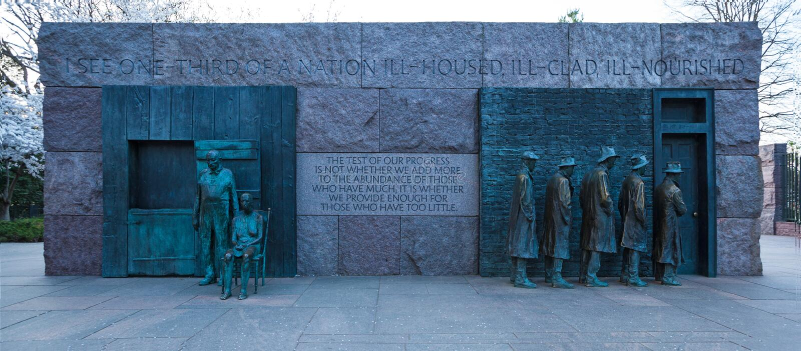 WASHINGTON, DC - April 08, 2018: The Breadline and The Rural Couple Sculptures by George Segal created, Franklin Delano Roosevelt. Memorial stock photo