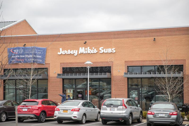 Jersey Mike`s Subs Fast Food Restaurant. Washington DC, April 2 2018: Jersey Mike`s Subs Fast Food Restaurant. Jersey Mike`s Subs is a submarine sandwich chain royalty free stock images