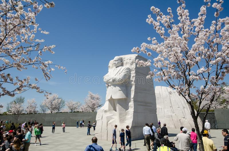 Tourists crowds gather around the MLK Jr. Memorial during the Cherry Blossom Festival in Washington DC stock photo