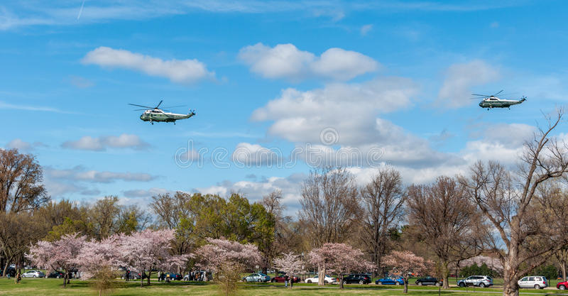 WASHINGTON DC: APRIL 1, 2017: United States Marine One Helicopter Flies Over The Tidal Basin and Potomac River stock photography