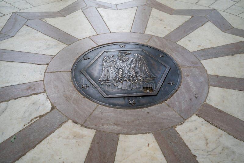 Washington, DC - August 4, 2019: District of Columbia War Memorial WWI. Close up of emblem.  stock photos