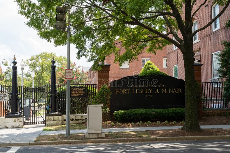 Washington, DC - August 7, 2019: Exterior entrance and sign for Fort Lesley J McNair, a military base for the US Army in Southwest royalty free stock photos