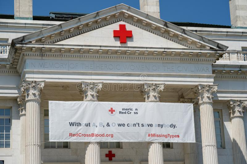 Exterior facade of the American Red Cross Hospital, headquarters building in District of Columbia. Washington, DC - August 6, 2019: Exterior facade of the stock photos