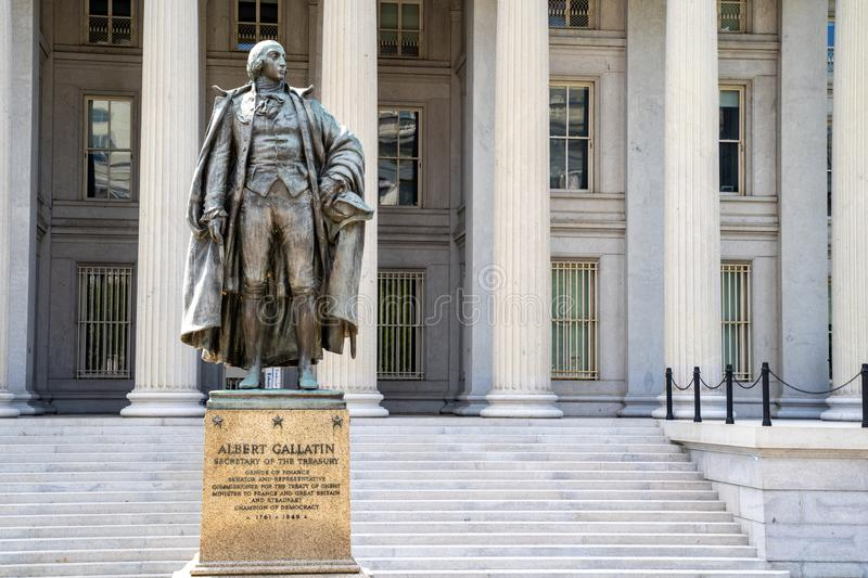 Washington, DC - August 4, 2019: Exterior of the United States Department of Treasury, with statue of Albert Gallatin, secretary. Of the treasury royalty free stock photo