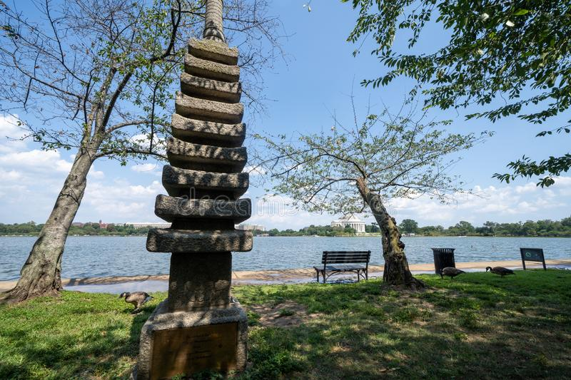 Japanese Pagoda is a stone statue in West Potomac Park, Washington, D.C, at the tidal basin. royalty free stock photography