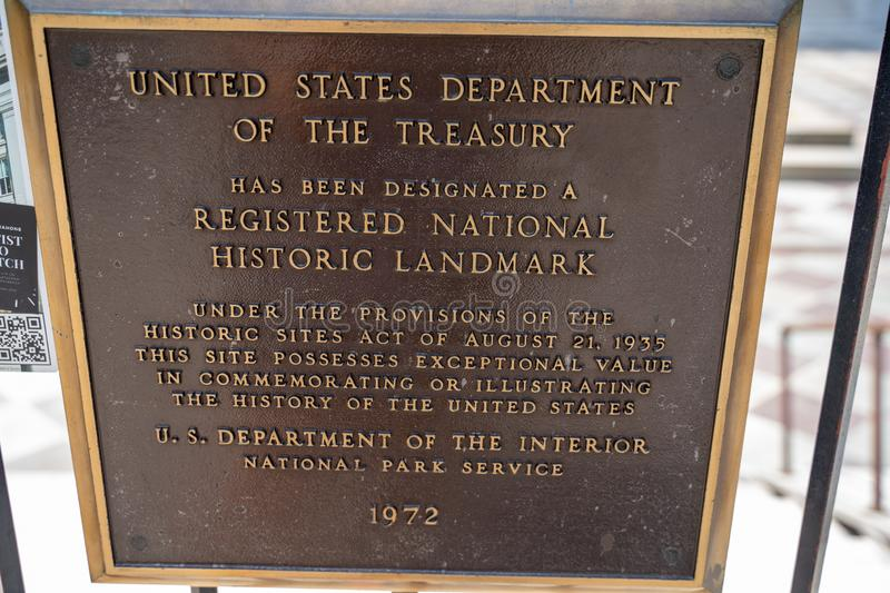 Washington, DC - August 4, 2019: Plaque noting the Registered National Historic Landmark of the United States Department of. Plaque noting the Registered stock images