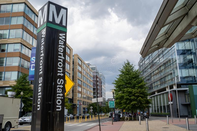 Washington, DC - August 7, 2019: Sign for the Waterfront Metro Station, along the Green Line in Southwest DC.  royalty free stock images