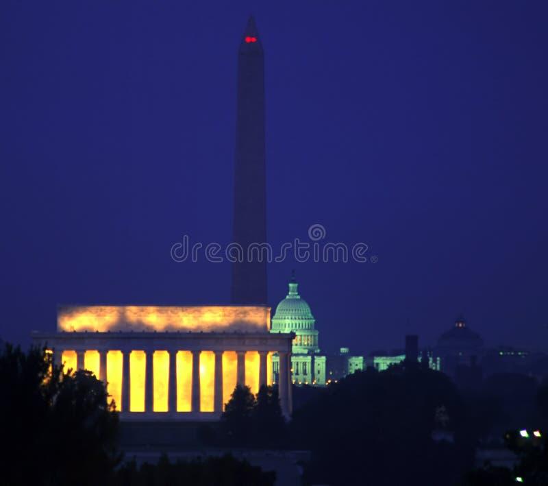 Washington DC bis zum Nacht stockfotos