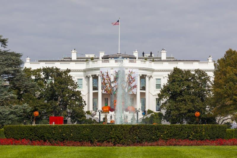 Washington DC branco da casa das decorações da queda de Dia das Bruxas foto de stock royalty free