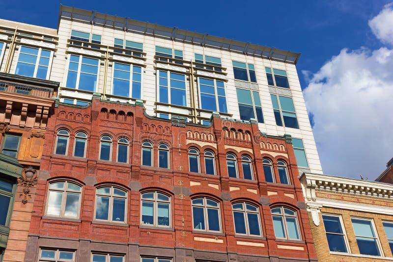 Washington DC budynki, koegzystencja różni style w miastowej architekturze obraz stock