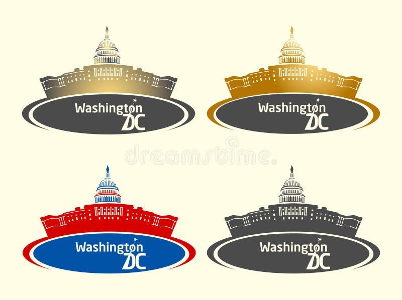 Washington DC Capitol budynku sztandar royalty ilustracja