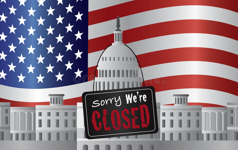 Washington DC Capitol with We Are Closed Sign stock illustration