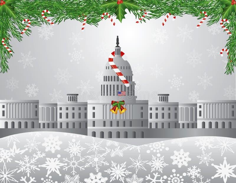 Washington DC Capitol sceny Bożenarodzeniowa ilustracja ilustracji