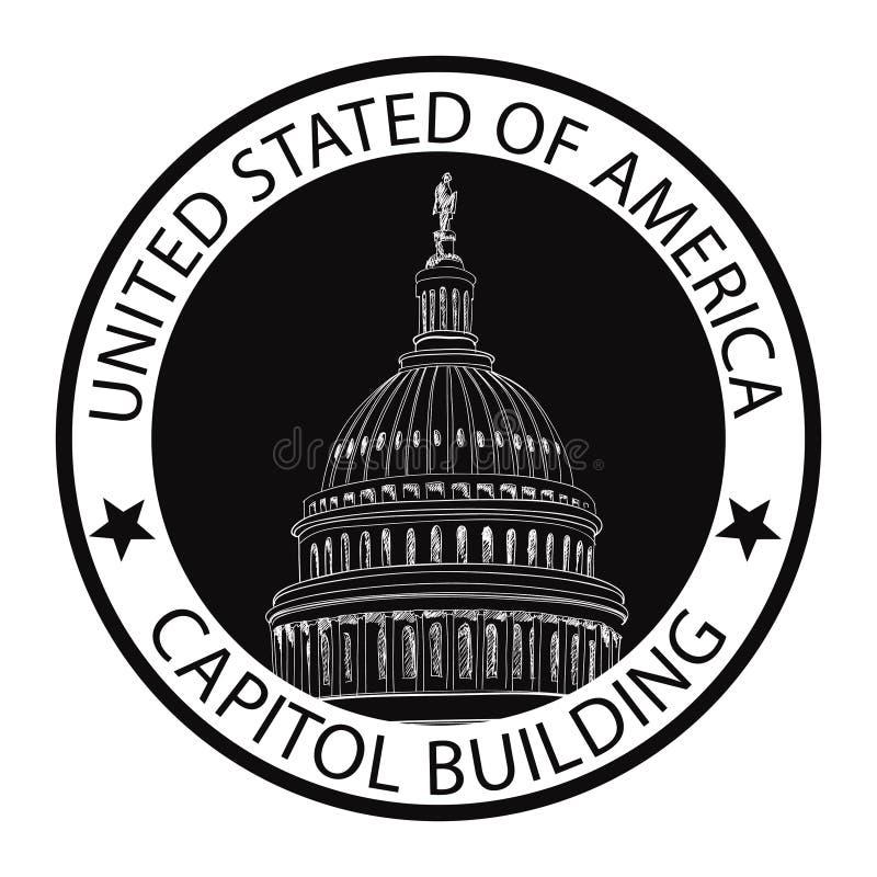 Washington DC Capitol, USA. Landmark stamp label vector illustration
