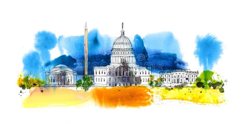 Washington DC Casa e obelisco bianchi Composizione in schizzo con gli effetti colourful di colore di acqua royalty illustrazione gratis