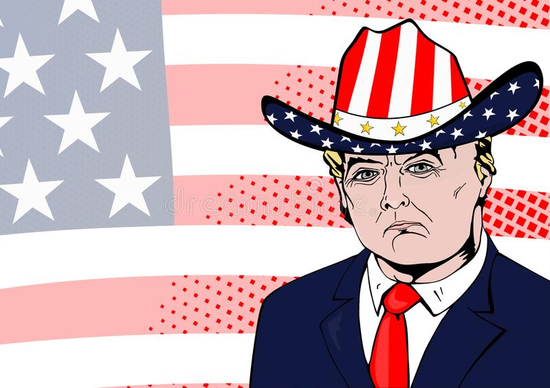 US President Donald Trump. Washington DC. Circa year 2018. US President Donald Trump. Flat comics style vector of President Trump in a hat in the colors of the stock illustration