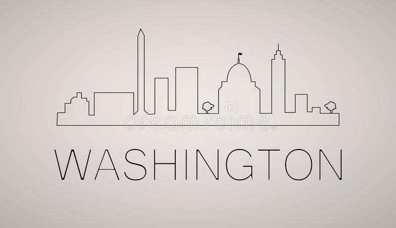 Washington dc city skyline black and white silhouette. Vector illustration. royalty free illustration