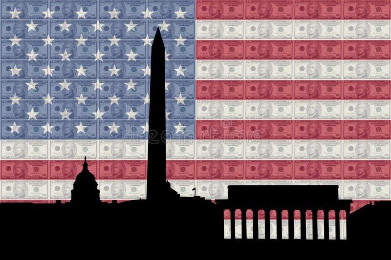 Washington DC com dinheiro e bandeira ilustração royalty free