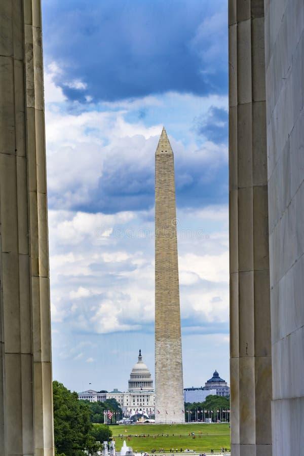 Washington DC commemorativo di Washington Monument Capitol Hill Lincoln delle colonne immagini stock
