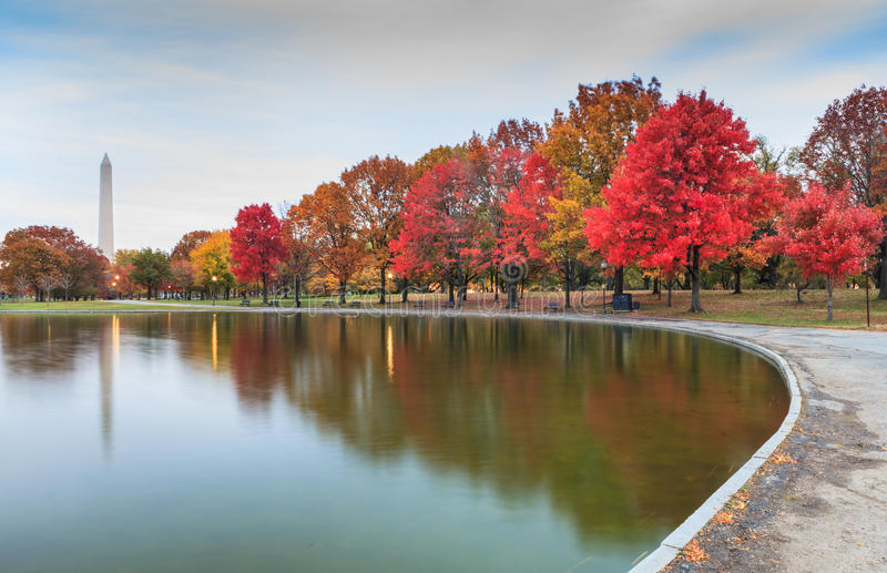 Washington DC Landmark Constitution Gardens in Autumn stock photo