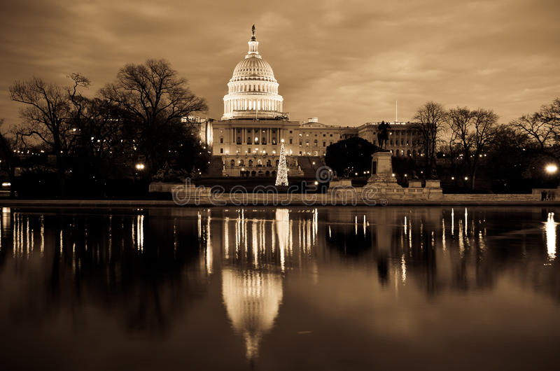 Washington DC - construction de capitol dans la sépia photo libre de droits