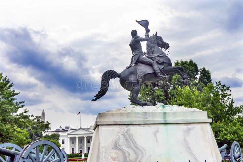 Washington DC da avenida de Pensilvânia da casa de Jackson Statue Lafayette Park White fotografia de stock royalty free