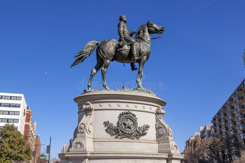 Washington DC de general George Thomas Civil War Statue Moon fotografía de archivo