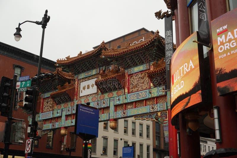 WASHINGTON DC, de V.S. - 16 MEI 2018 - Chinatown onder zware regen stock foto