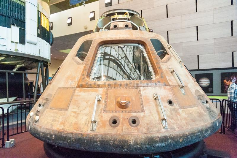 The Apollo 11 Capsule. Washington DC, December 23, 2015. The historic Apollo 11 Command Module on Display at the Smithsonian National Air and Space Museum stock photos