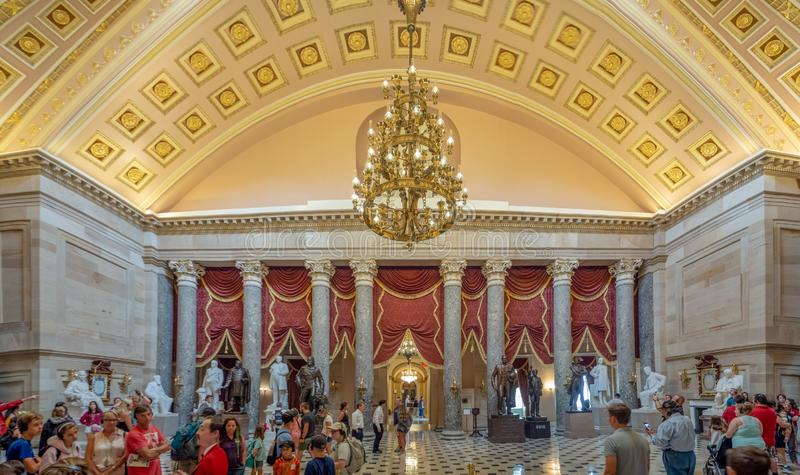 Washington DC, District of Columbia [United States Capitol interior, federal district, tourist visitor center, rotunda with fresco stock photos