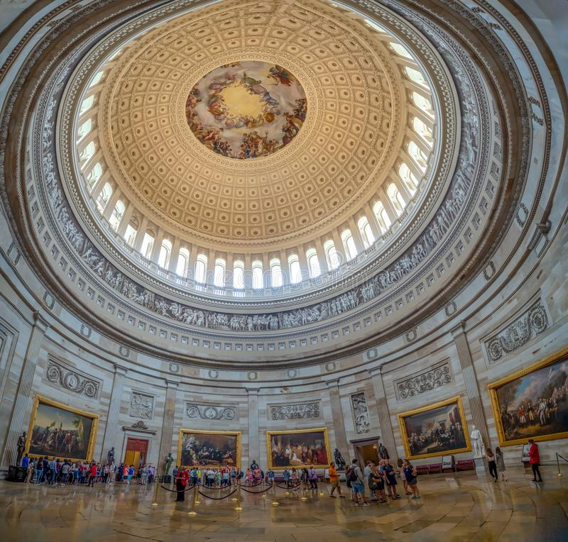 Washington DC, District of Columbia [United States Capitol interior, federal district, tourist visitor center, rotunda with fresco stock images