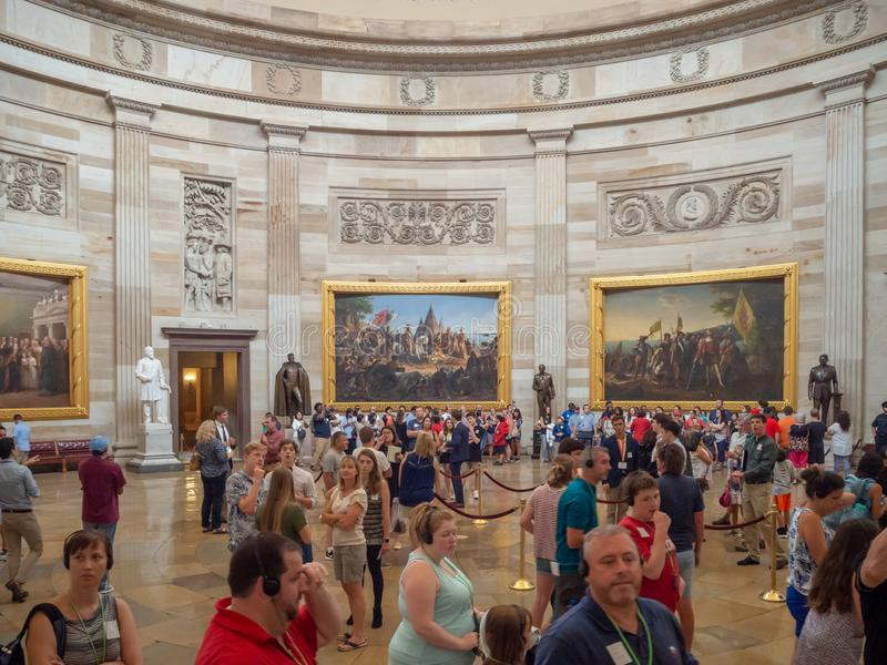 Washington DC, District of Columbia [United States Capitol interior, federal district, tourist visitor center, rotunda with fresco stock photography